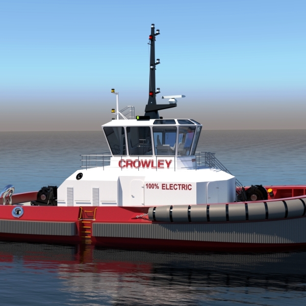 Fully electric tug with autonomous technology designed by Crowley Engineering