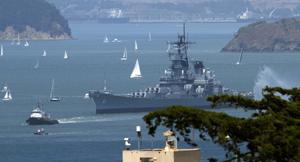 Warrior tugboat tows USS IOWA