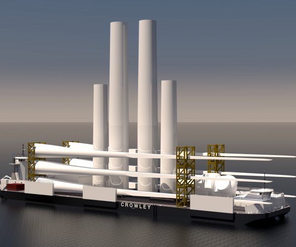 heavy lift barge with wind turbines